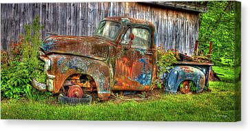 Long Bed Canvas Print - No Tires And Retired 1954 Gmc Stepside Pickup Truck by Reid Callaway