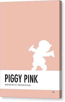 Woodies Canvas Print - No17 My Minimal Color Code Poster Porky Pig by Chungkong Art