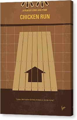 Cockerel Canvas Print - No789 My Chicken Run Minimal Movie Poster by Chungkong Art