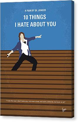Heath Ledger Canvas Print - No850 My 10 Things I Hate About You Minimal Movie Poster by Chungkong Art