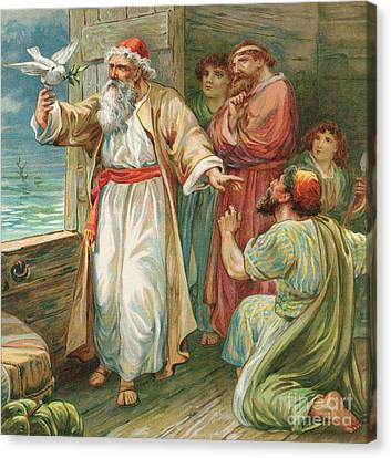Noah And The Dove  Canvas Print by Robert Ambrose Dudley