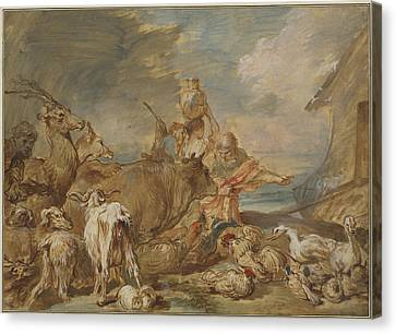 Noah Leading The Animals Into The Ark Canvas Print by Giovanni Benedetto Castiglione