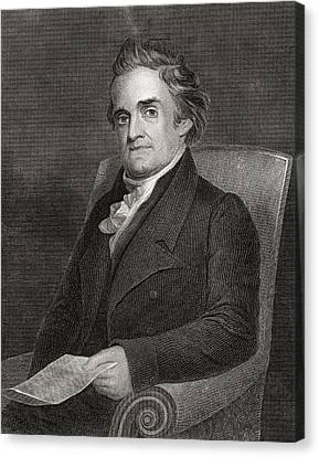 Noah Webster 1758 To 1843 American Canvas Print by Vintage Design Pics