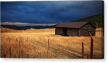 Log Cabins Canvas Print - Noble Meadow by Thomas Zimmerman