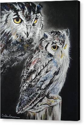 Noble Owl Guardian Of The Afterlife Canvas Print by Carla Carson