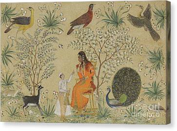 Noble Woman In A Garden Canvas Print by Mughal School