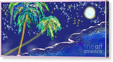 Canvas Print featuring the painting Noche Tropical by The Art of Alice Terrill