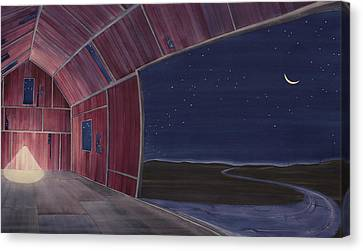 Canvas Print featuring the painting Nocturnal Barnscape by Scott Kirby
