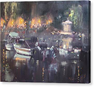 Athens Canvas Print - Nocturne At Dilesi Beach by Ylli Haruni