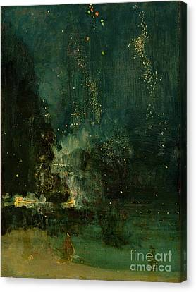 Nocturne In Black And Gold - The Falling Rocket Canvas Print by James Abbott McNeill Whistler