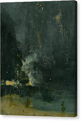 Nocturne In Black And Gold Canvas Print by James Abbott McNeill Whistler