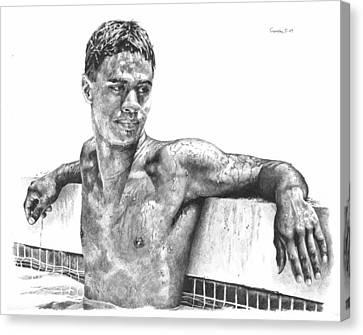 Nohea In The Pool Canvas Print by Douglas Simonson