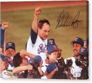 Nolan Ryan Texas Rangers Famed No Hitter Canvas Print by Donna Wilson