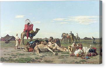 Nomads In The Desert Canvas Print by Georges Washington