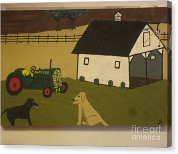 Canvas Print featuring the painting Nook And Brutus by Jeffrey Koss
