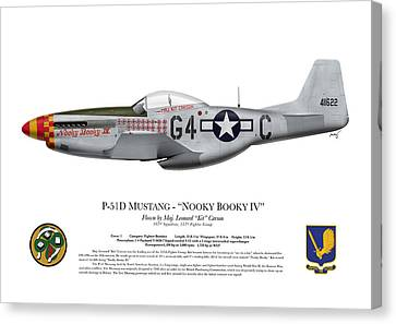 Nooky Booky I V - P-51 D Mustang Canvas Print by Ed Jackson