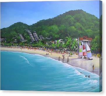 Canvas Print featuring the painting Noosa Fun Acrylic Painting by Chris Hobel