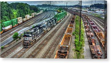 Canvas Print featuring the photograph Norfolk Southern Locomotive #2665 Atlanta Inman Intermodal Yard Art by Reid Callaway