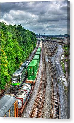 Canvas Print featuring the photograph Norfolk Southern Locomotive 648 Atlanta Train Art by Reid Callaway