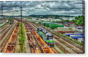 Canvas Print featuring the photograph Norfolk Southern Locomotive 654 Atlanta Inman Yard Intermodal Train Art by Reid Callaway