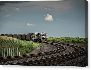 Southern Indiana Canvas Print - Norfolk Southern Railroad 7627 And 9825 At Princeton In by Jim Pearson