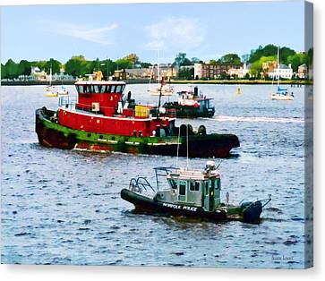 Norfolk Va - Police Boat And Two Tugboats Canvas Print by Susan Savad