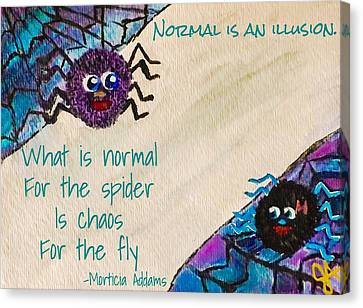 Normal Spider Chaos Fly Canvas Print by Jennifer Turner