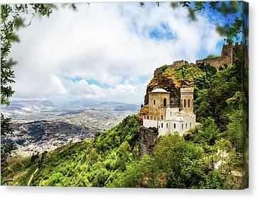 Norman Castle On Mount Erice - Sicily Italy Canvas Print