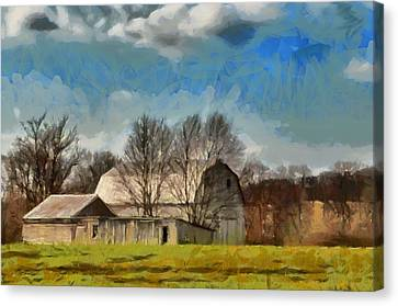 Canvas Print featuring the mixed media Norman's Homestead by Trish Tritz