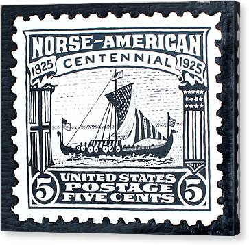 Norse-american Centennial Stamp Canvas Print by James Neill