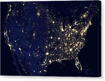 North America At Night Canvas Print by Happy Home Artistry
