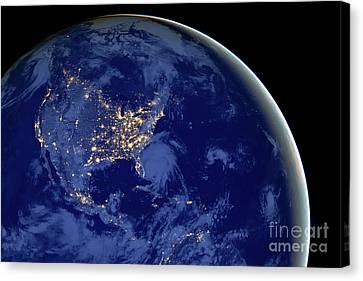 Canvas Print featuring the photograph North America From Space by Delphimages Photo Creations