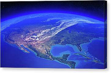 North America Seen From Space Canvas Print by Johan Swanepoel