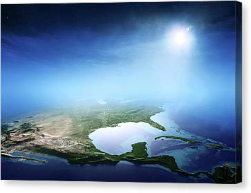 North America Sunrise Aerial View Canvas Print by Johan Swanepoel