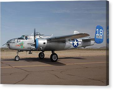 North American B-25j Mitchell Maid In The Shade N125az Casa Grande Airport Arizona March 5 2011 Canvas Print by Brian Lockett