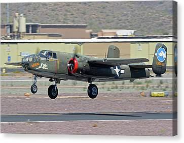 Canvas Print featuring the photograph North American B-25j Mitchell Nl3476g Tondelayo Deer Valley Arizona April 13 2016 by Brian Lockett