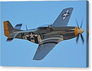 North American P-51d Mustang Nl151hr Chino California April 29 2016 Canvas Print by Brian Lockett