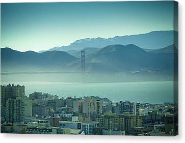 North Beach And Golden Gate Canvas Print by Hal Bergman Photography