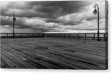 North Beach Pier With Clouds Canvas Print