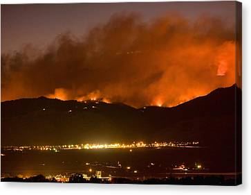 North Boulder Colorado Fire Above In The Hills Canvas Print by James BO  Insogna