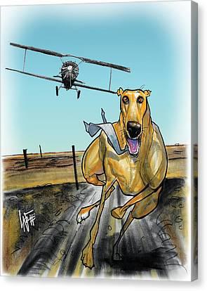 Greyhound Canvas Print - North By Northwest Greyhound Caricature Art Print by John LaFree