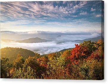 North Carolina Autumn Sunrise Blue Ridge Parkway Fall Foliage Nc Mountains Canvas Print by Dave Allen