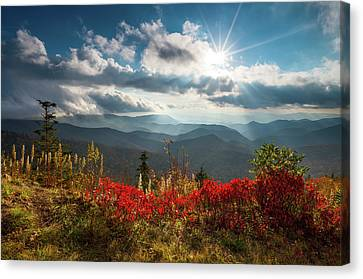 North Carolina Blue Ridge Parkway Scenic Landscape In Autumn Canvas Print by Dave Allen
