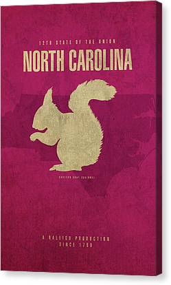 North Carolina State Facts Minimalist Movie Poster Art Canvas Print