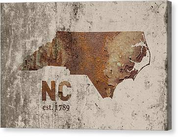 North Carolina State Map Industrial Rusted Metal On Cement Wall With Founding Date Series 022 Canvas Print by Design Turnpike