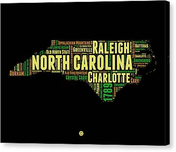 North Carolina Word Cloud Map 1 Canvas Print by Naxart Studio