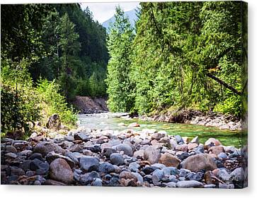 North Cascades Rivers And Rocks Landscape Photography By Omashte Canvas Print by Omaste Witkowski