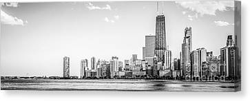 North Chicago Skyline Panorama In Black And White Canvas Print by Paul Velgos