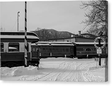 North Conway Nh Scenic Railroad Black And White Canvas Print