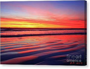 Canvas Print featuring the photograph North County Sand Ripples by John F Tsumas